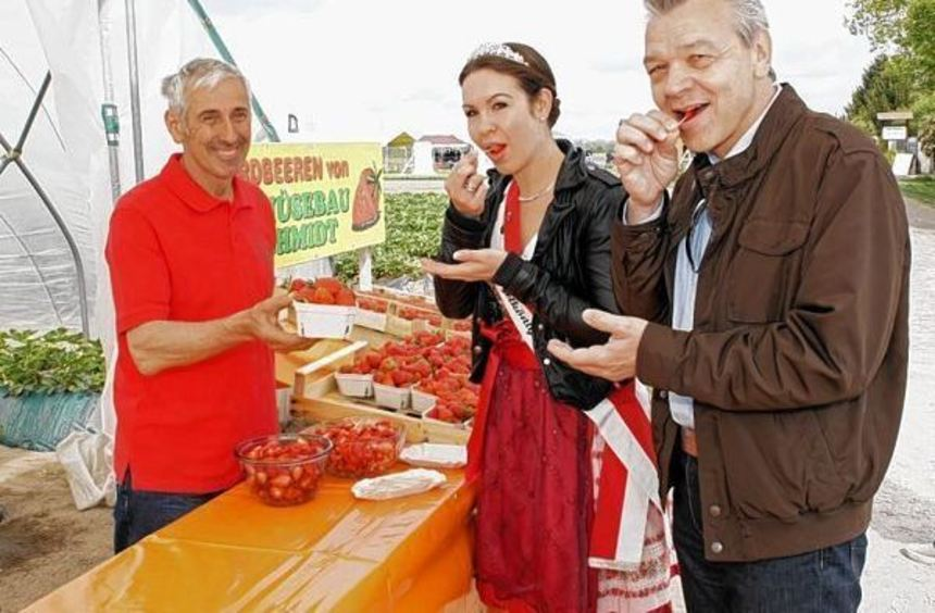 Beim Landwirt Schmidt kosten Spargelkönigin Melanie I. und Bürgermeister Gottfried Störmer von den ...