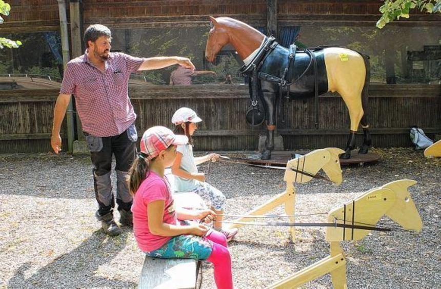Kutschentag beim Kinder-Ferienkurs des Pferdesportvereins Heidelberg-Ladenburg: Vor der gemeinsamen ...