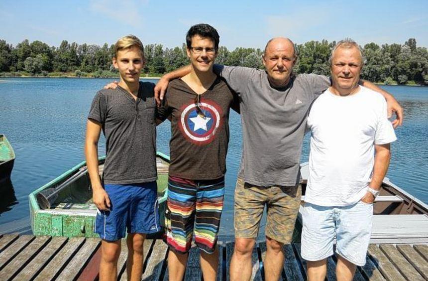 Jugendprinz Paul Kramer, Prinz Jan Dorotik, Fischerkönig Peter Schreiner und zweiter Prinz Claudio ...