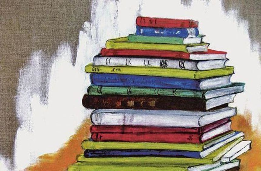 """Den Blick verweilen lässt sich auf dem Gemälde """"Bücher"""": geschaffen in Öl und Acryl auf Leinwand ..."""