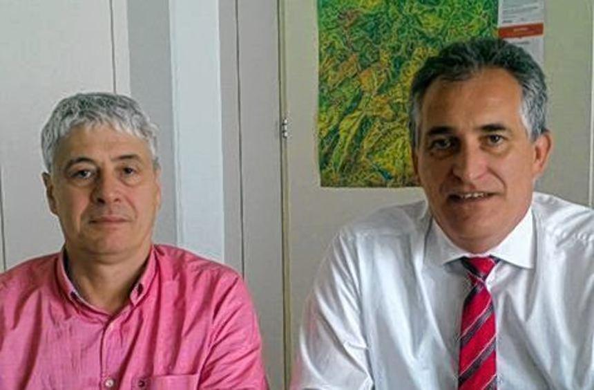 Betriebsratschef Jan Heinrich (li.) und IG-Metall-Vorstand Jürgen Kerner.