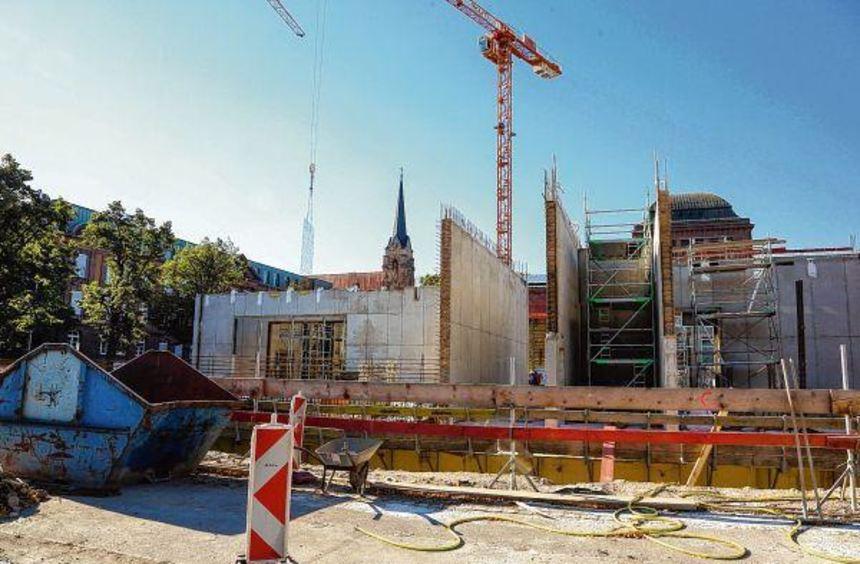 Schon das zweite Stockwerk erreicht: Die Baustelle für den Neubau der Kunsthalle kommt voran. Doch ...