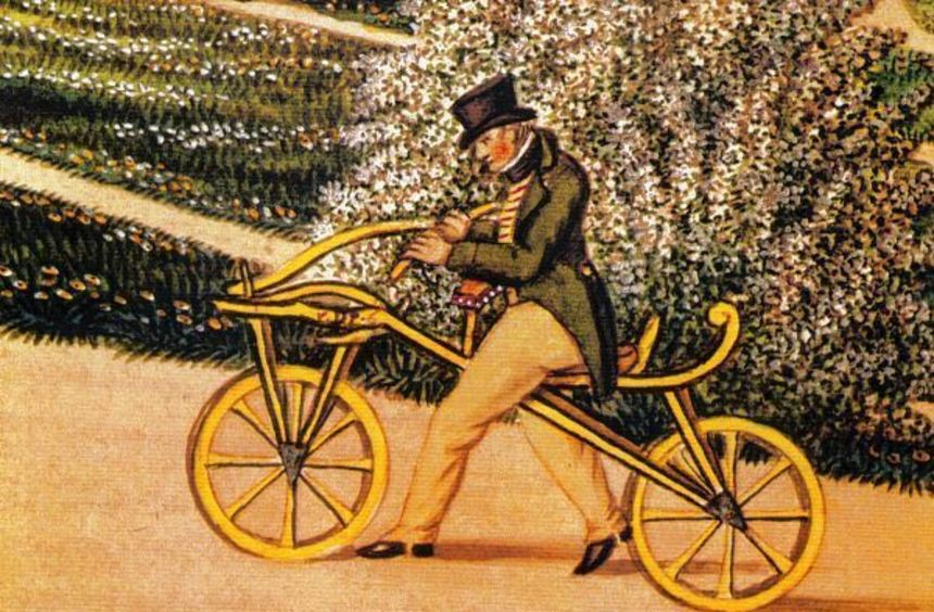 Freiherr von Drais auf seinem Laufrad, gemalt von Joseph Paul Karg. Drais´ erste Fahrt führte mit ...