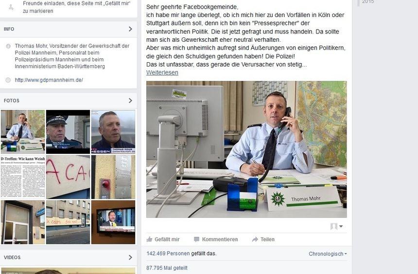 Ein Screenshot der Facebook-Seite von Polizeigewerkschafter Thomas Mohr.