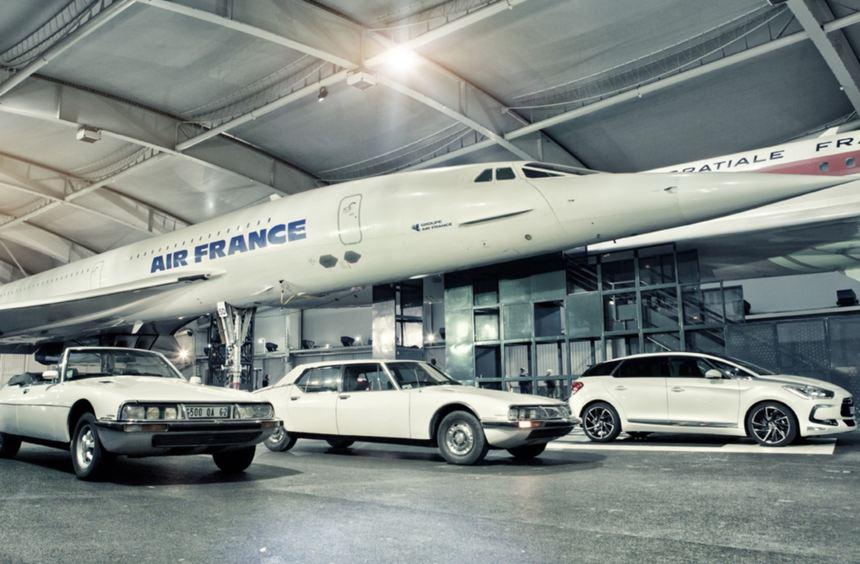 Nationale Symbole: Citroen-Modelle vor der Concorde. Im Hintergrund der DS5