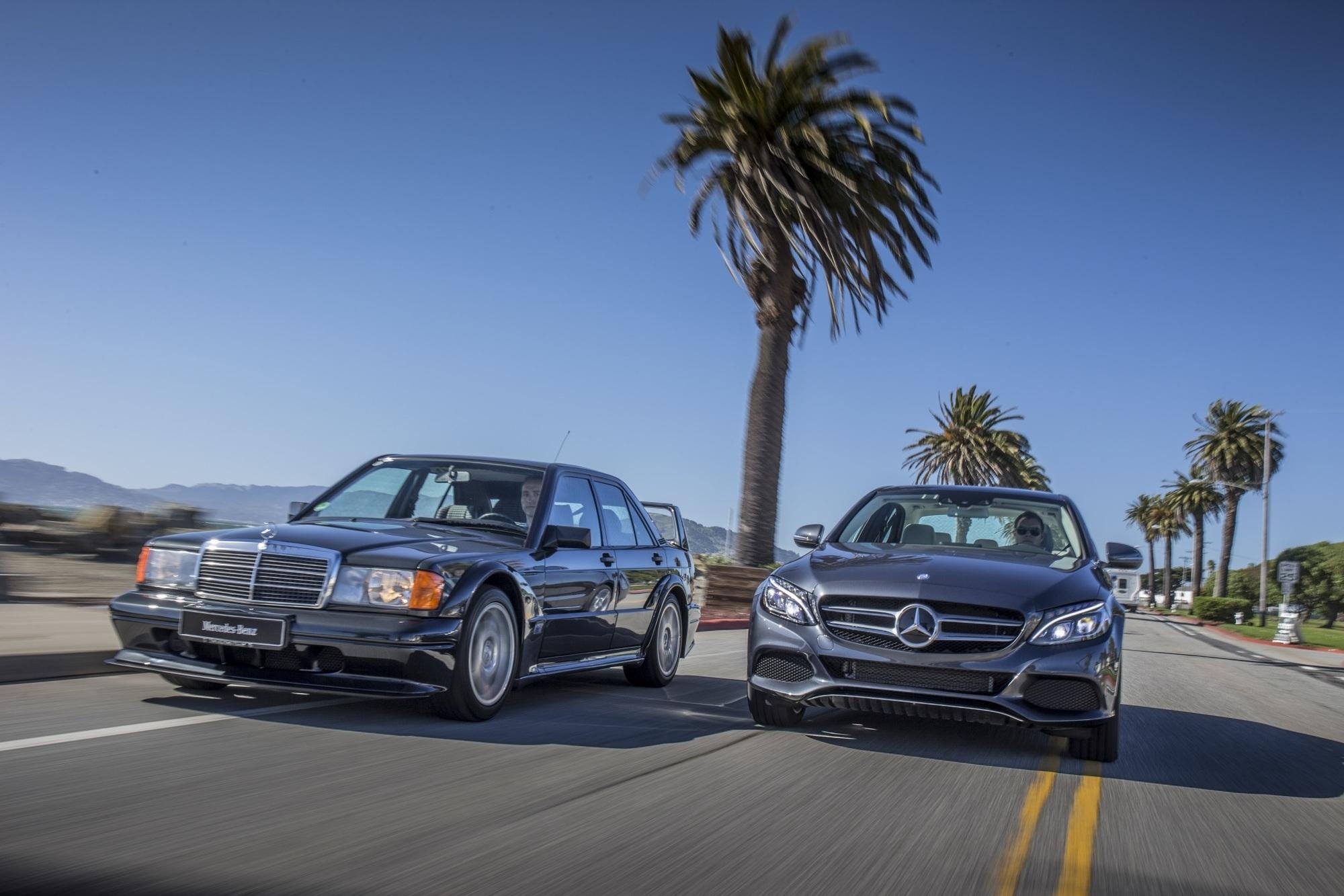 Panorama: Mercedes C 350 e trifft 190E 2.5-16 Evolution II - Der Grüne und das Biest