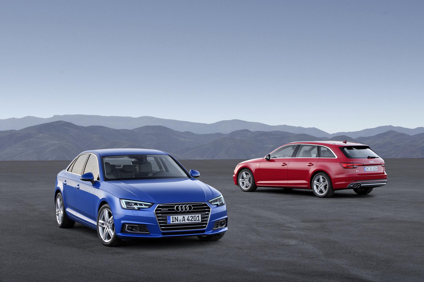 mid Düsseldorf - Mit gestrafftem Blechkleid und bis zu 120 Kilo leichter: der neue Audi A4 als Limousine und Avant.