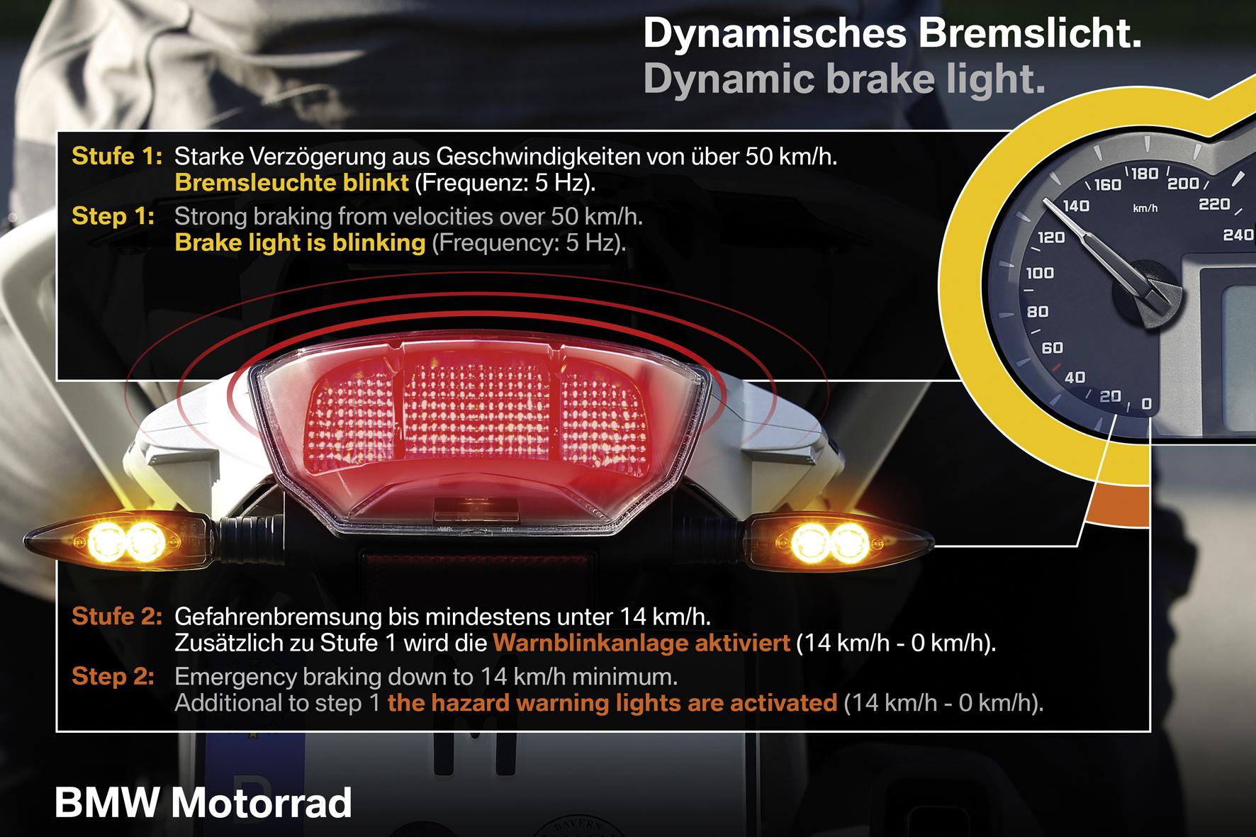 mid München - Das dynamische Bremslicht erhöht bei BMW-Motorrädern ab dem kommenden Modelljahr die Sicherheit.