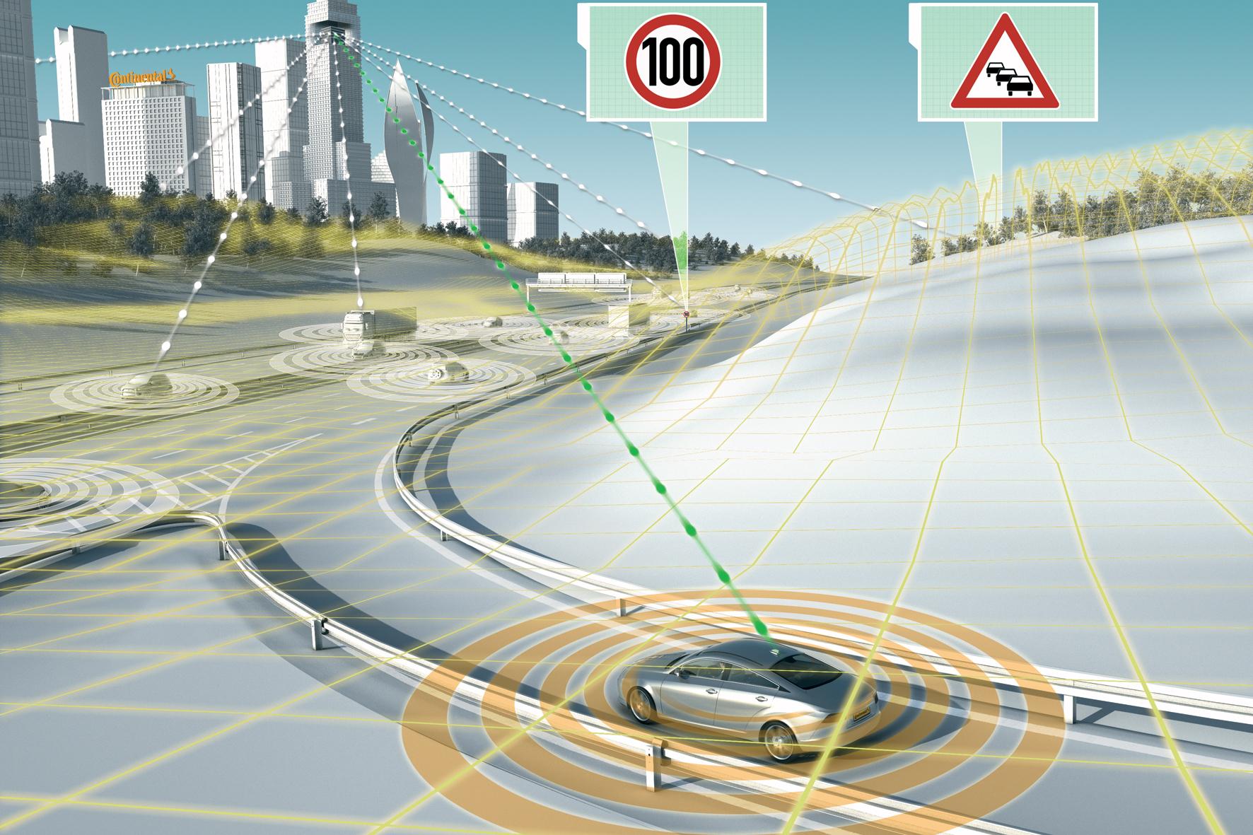 mid Frankfurt am Main - Durch die Kombination von Sensor-Informationen der Assistenzsysteme von Pkw und topografischen Streckendaten will Continental vorausschauendes Fahren in einer neuen Dimension ermöglichen.