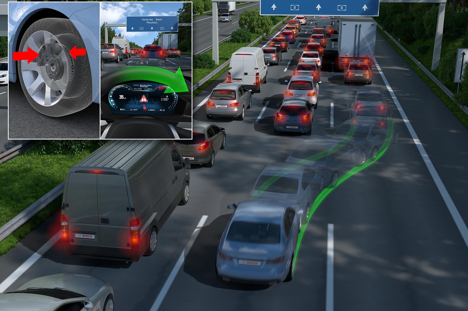 mid Düsseldorf - Ein neuer Ausweich-Assistent von Bosch soll mittels Radar- und Video-Sensoren ein Hindernis erkennen und den Fahrer beim Ausweichen unterstützen.