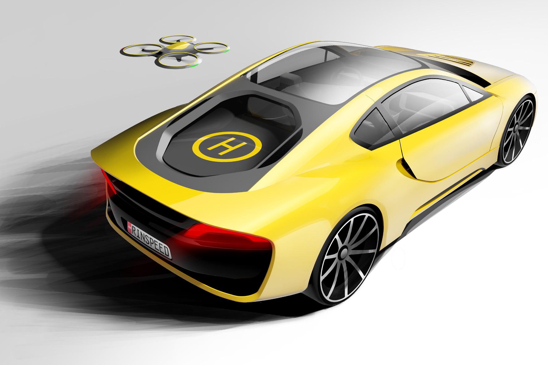 mid Düsseldorf - Hoch hinaus will Rinspeed mit seinem Auto-Heck als Start- und Landeplatz für Service-Drohnen.