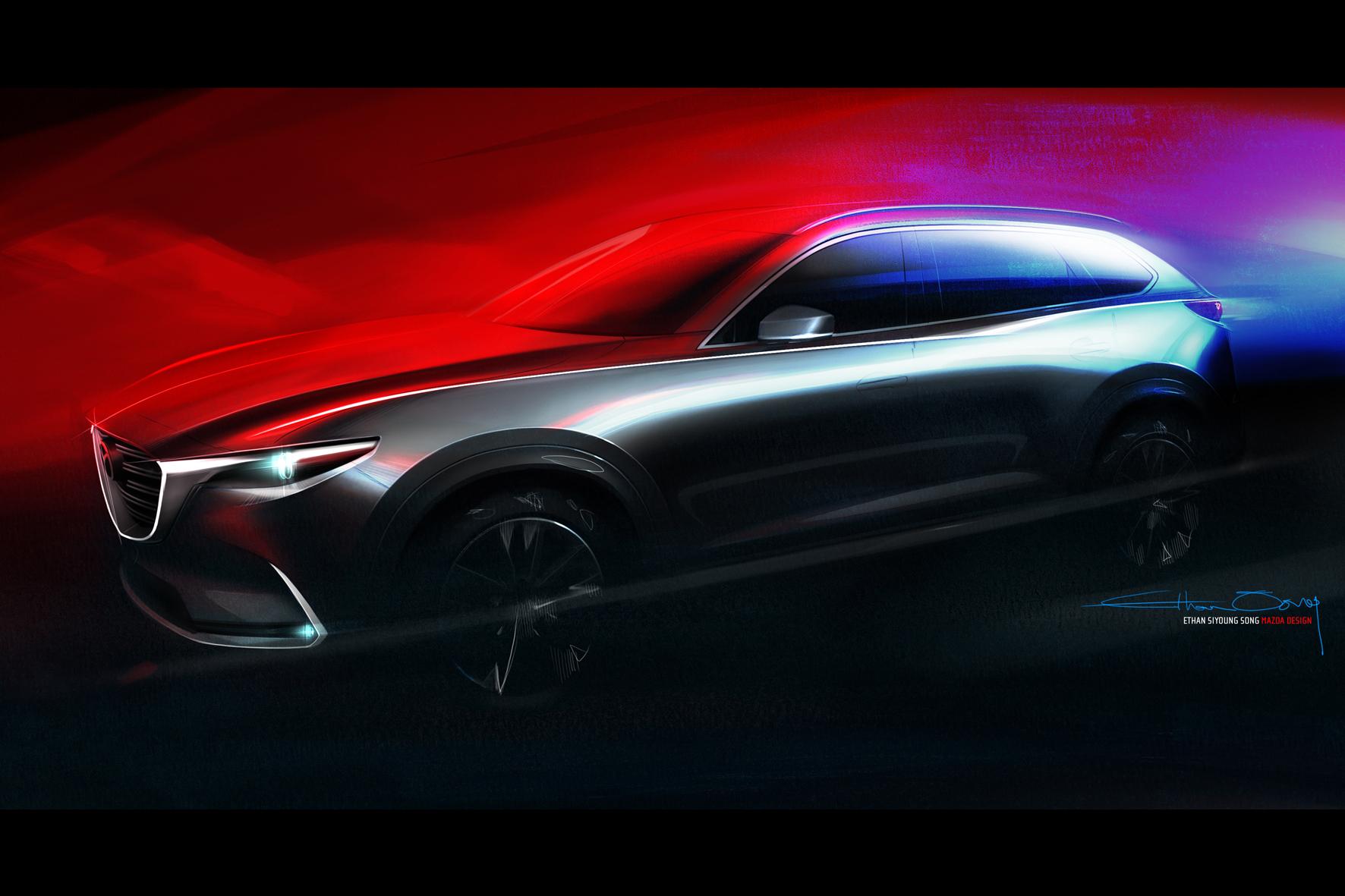 mid Düsseldorf - Kodo-Design im XL-Format: Der Mazda CX-9 erhält in der neuen Modellgeneration das Familien-Gesicht der Marke, wie die jetzt veröffentlichte Skizze zeigt.