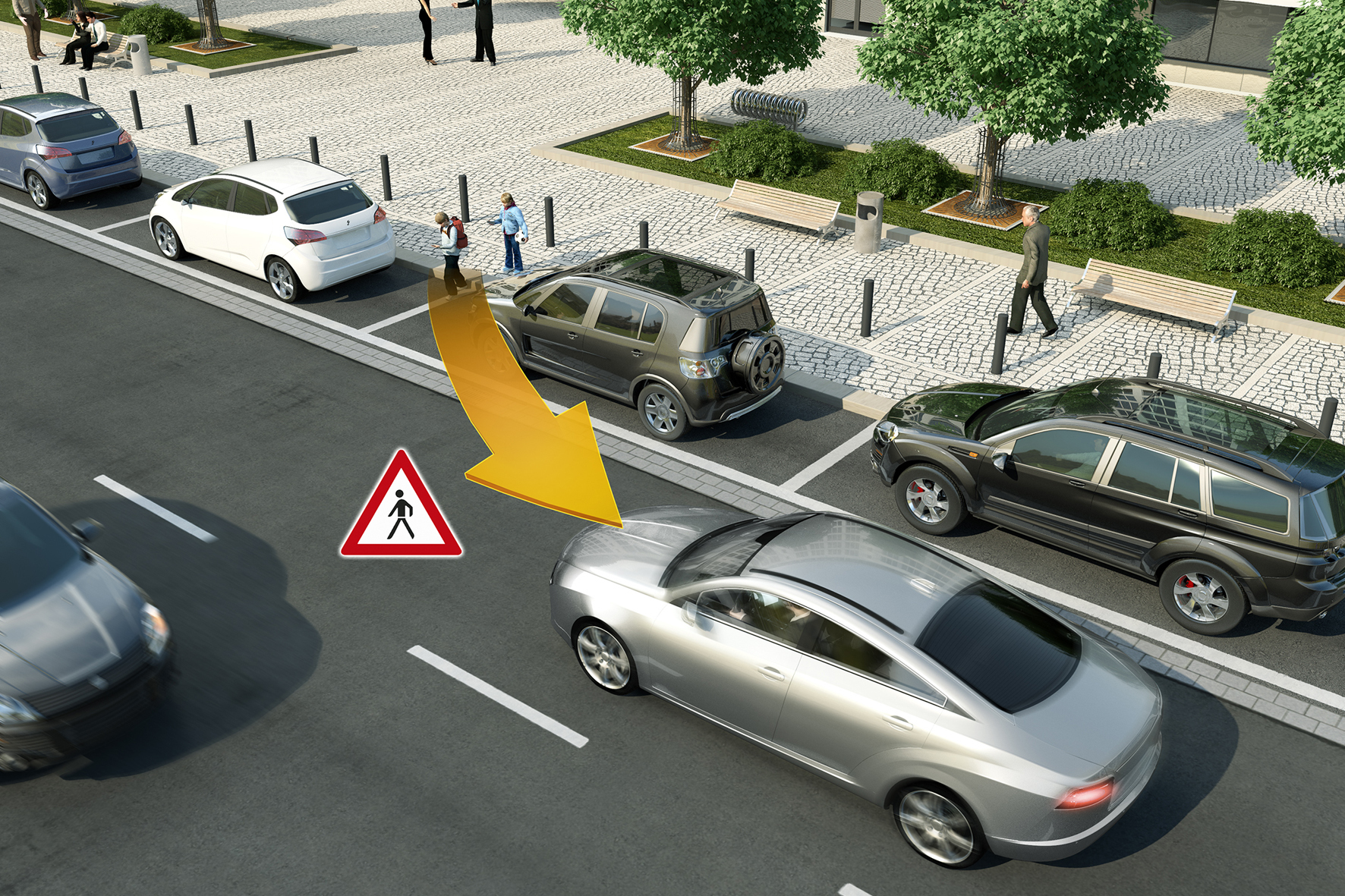 mid Düsseldorf - Achtung Fußgänger: Mittels Kurzstreckenfunk erkennen Autos frühzeitig leicht verwundbare Verkehrsteilnehmer.