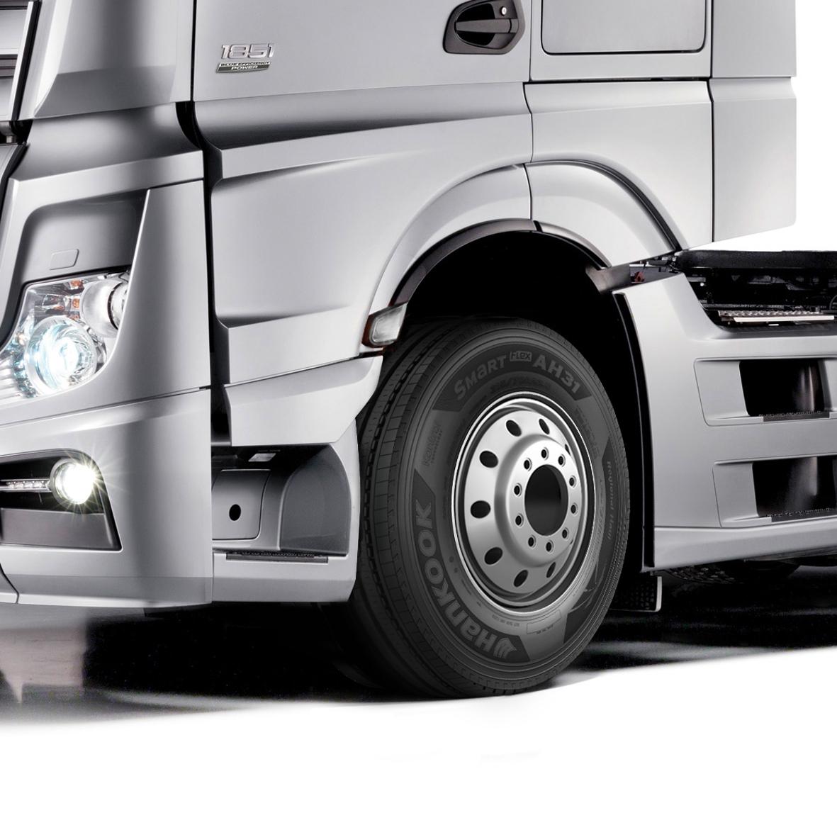 mid Groß-Gerau - 20 neue Reifengrößen für Mercedes Actros und Co.: Hankook weitet sein Angebot an Lkw-Reifen im Format 22,5 Zoll aus.