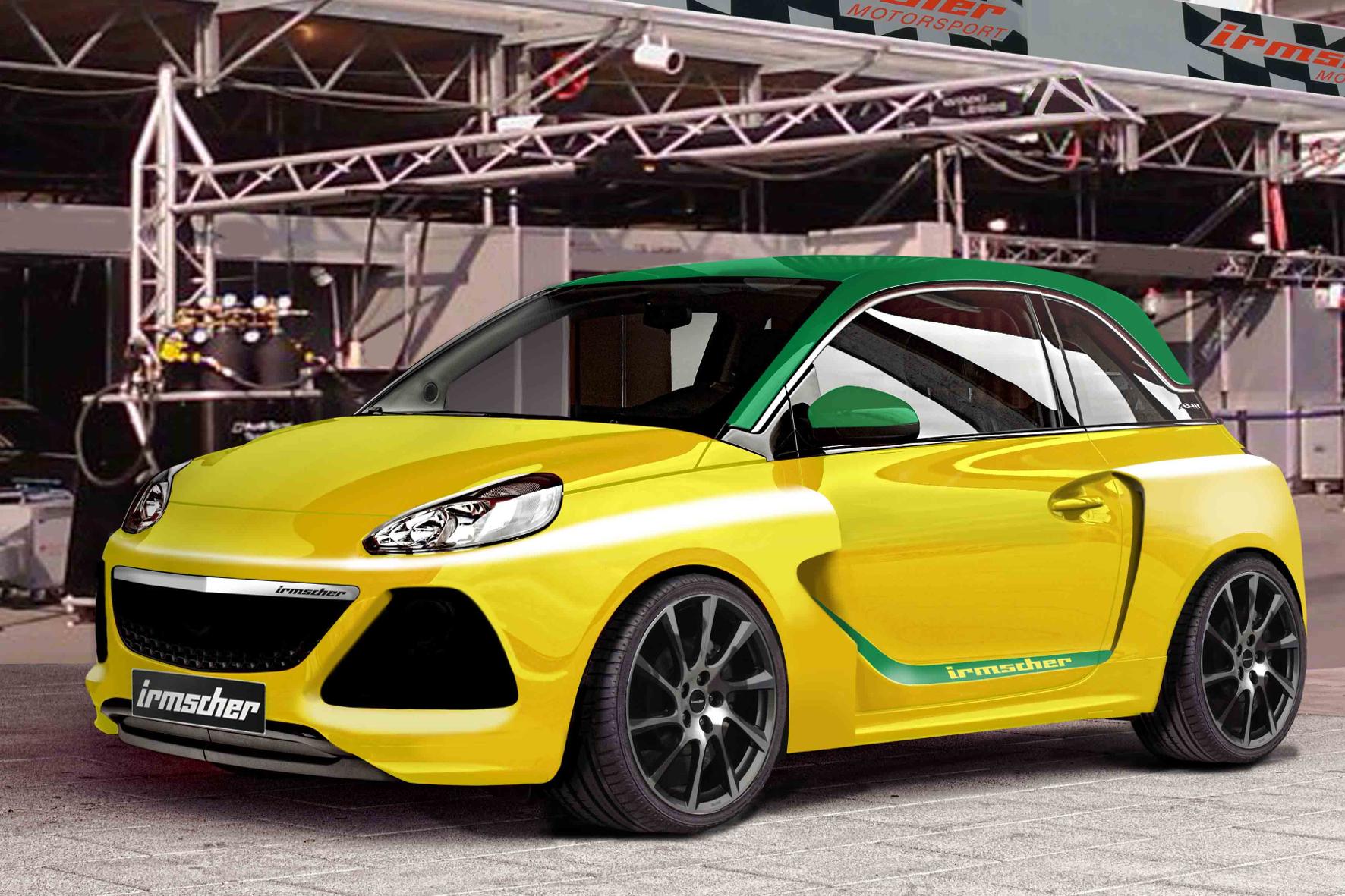 mid Groß-Gerau - Grün und gelb: In den Traditionsfarben des Tuners Irmscher leuchtet das neue Konzeptauto. Der Opel Adam soll auf 125 kW/170 PS erstarken und auch sonst eine gute Figur abgeben.