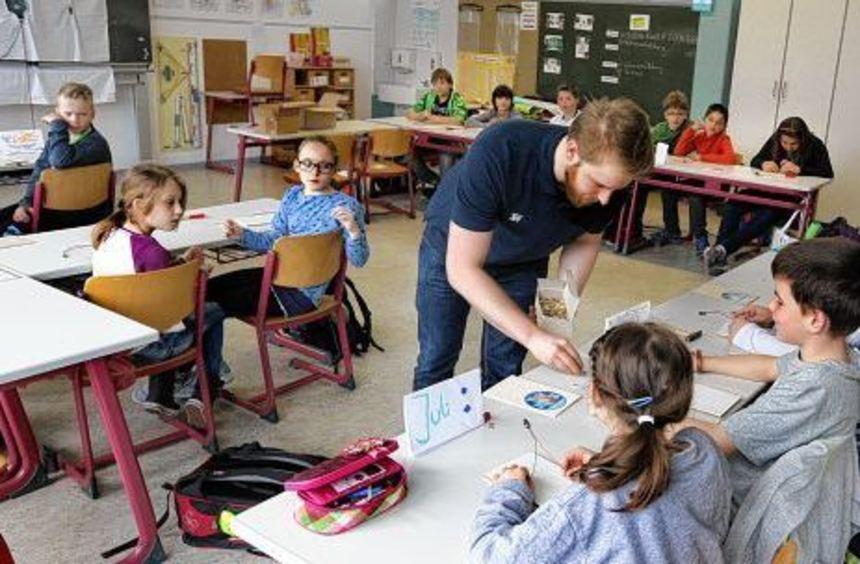 Maximilian Steger verteilt Reißzwecken an die Schüler, damit sie daraus Strommessgeräte basteln ...