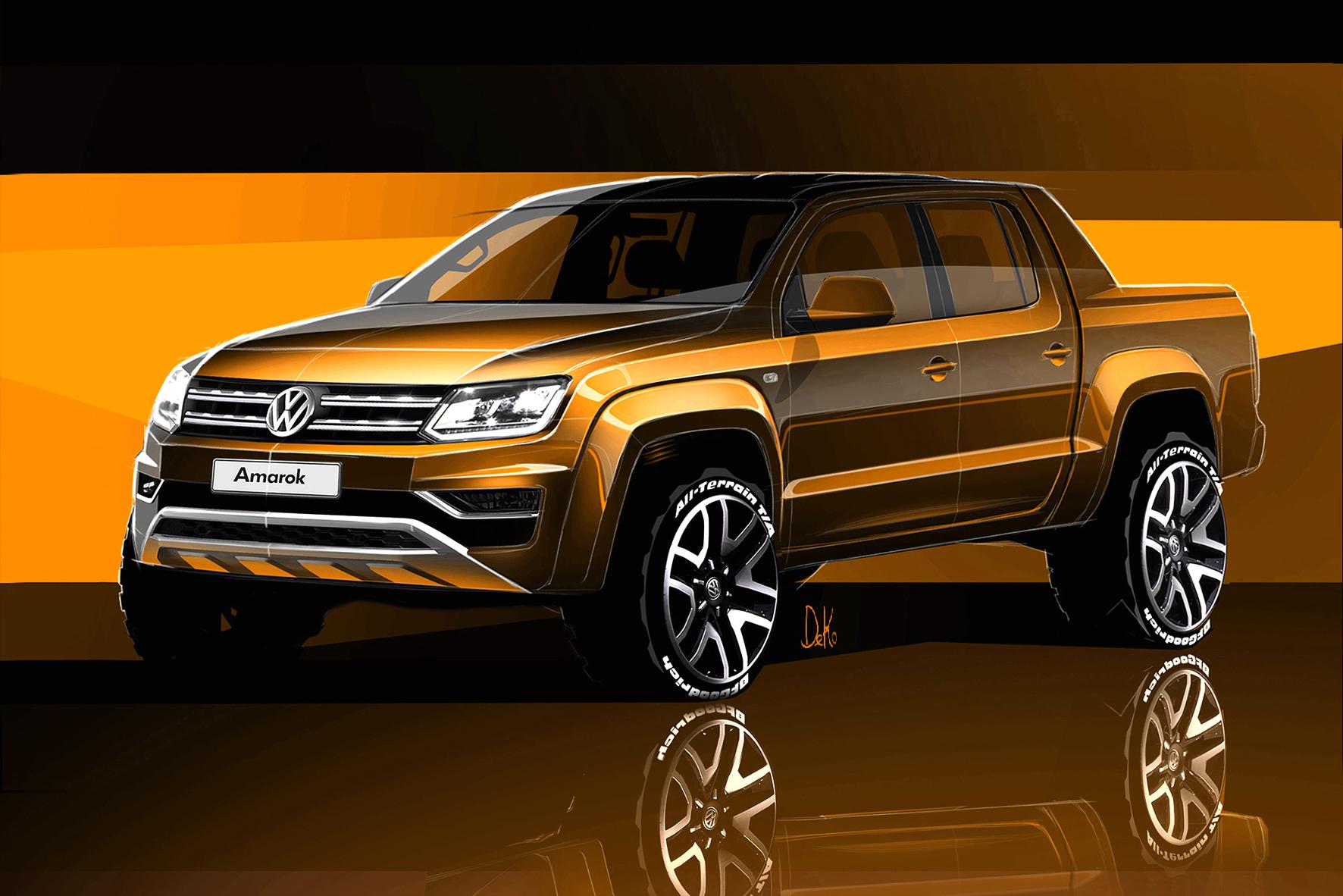mid Groß-Gerau - Der neue VW Amarok wird ersten Skizzen zufolge deutlich kantiger als das aktuelle Modell.
