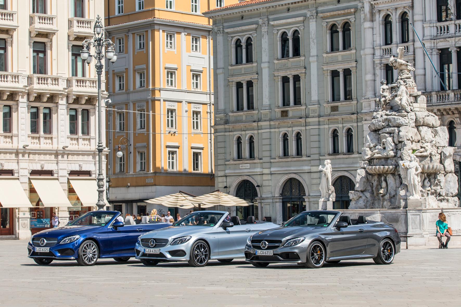 mid Triest - Das Cabrio als jüngstes Mitglied der C-Klasse-Familie von Mercedes geht in zahlreichen Varianten an den Start - vom braven 158-PS-Gleiter bis zum 510-PS-Dampfhammer.