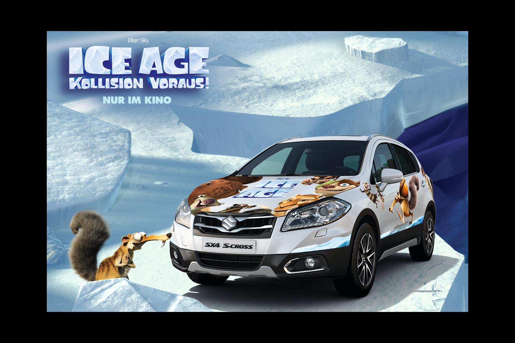 """mid Groß-Gerau - Film ab: Zum Start von """"Ice Age – Kollision voraus"""" wird ein Suzuki SX4 S-Cross im Design des Animations-Streifens verlost."""