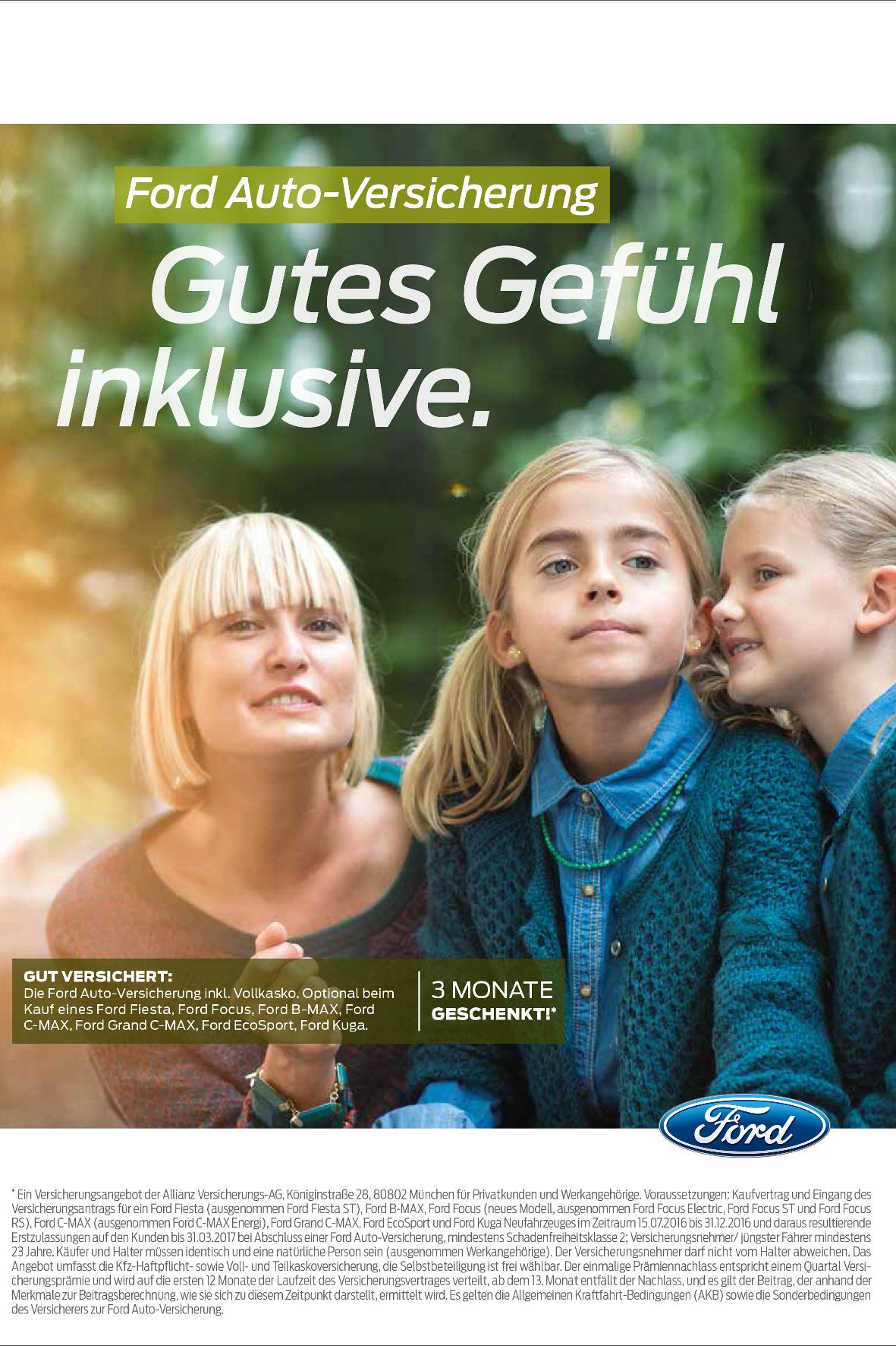 mid Groß-Gerau - Ford übernimmt für Neuwagenkäufer bis Jahresende die Versicherungskosten für die ersten drei Monate.