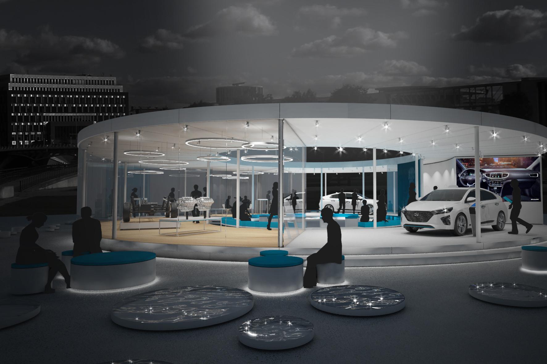 mid Groß-Gerau - Ein Koreaner in Mainhattan: Der Hyundai Ioniq gastiert für neun Tage in einem Infostand in Frankfurt am Main.