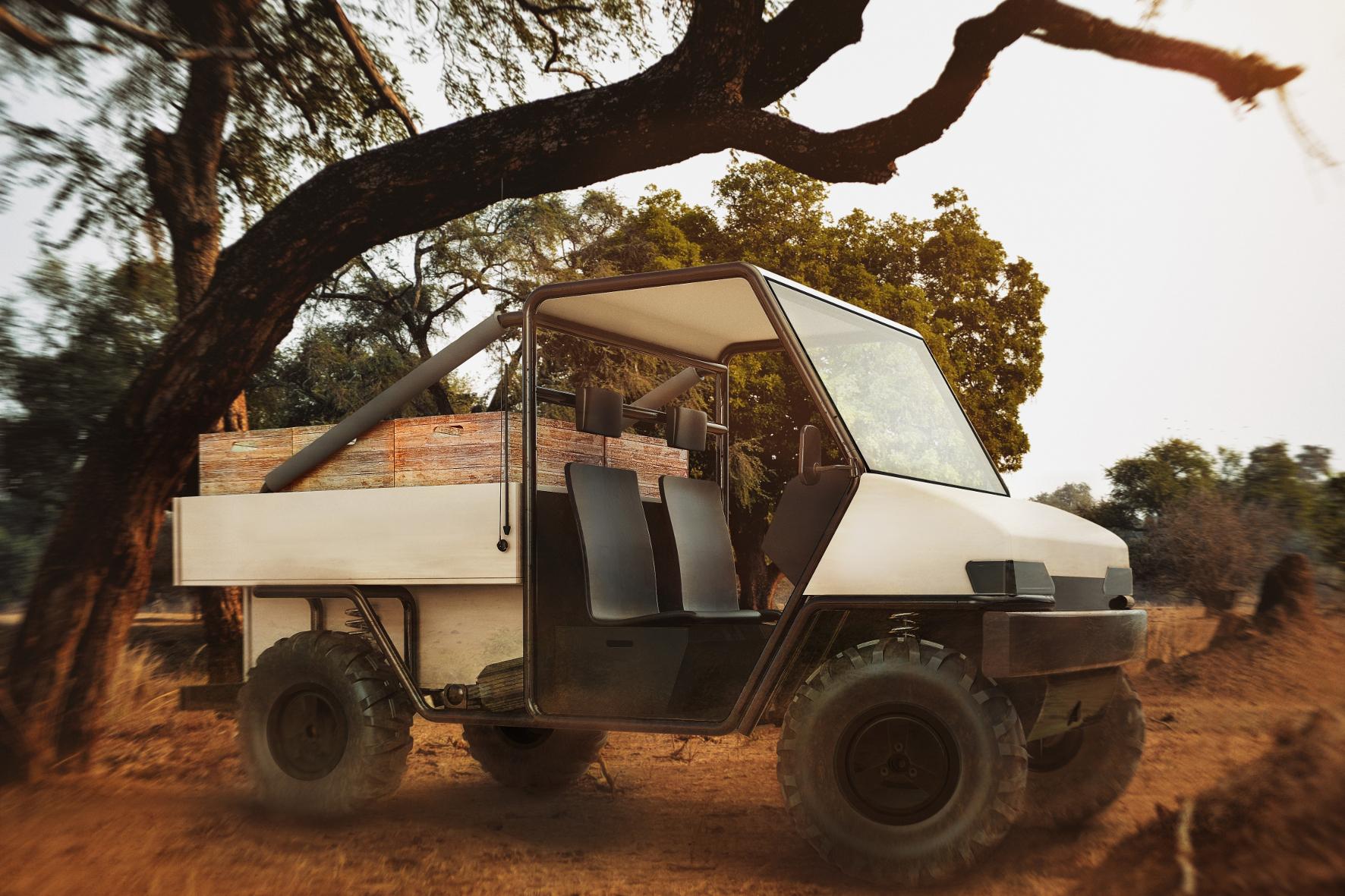 """mid Groß-Gerau - Das """"aCar"""" ist ein Elektro-Fahrzeug speziell für die ländliche Bevölkerung in den armen Regionen Afrikas. Ob der Prototyp irgendwann in Serie geht, müssen Tests jetzt zeigen."""