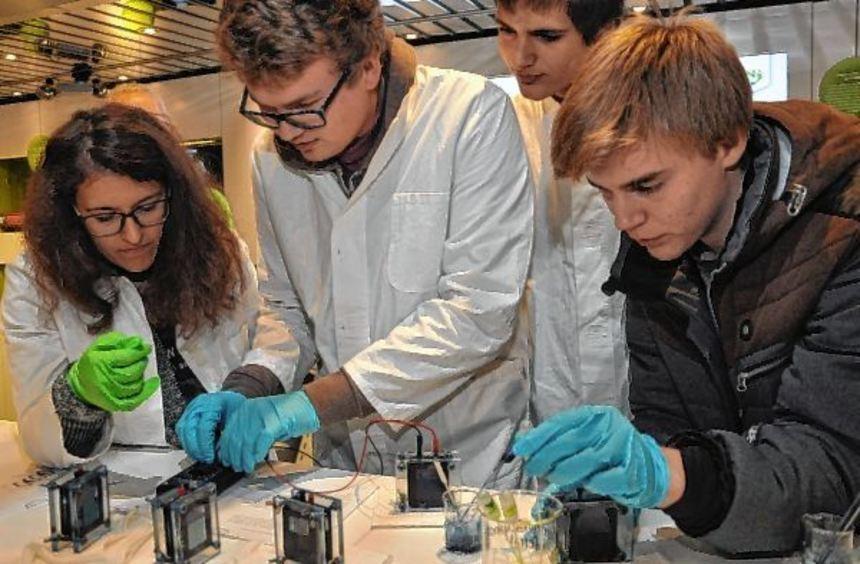 Schüler des Matthias-Grünewald-Gymnasiums experimentierten im zweistöckigen Ausstellungsfahrzeug.