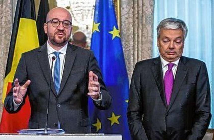 Belgiens Regierungschef Charles Michel (links) mit Außenminister Didier Reynders.