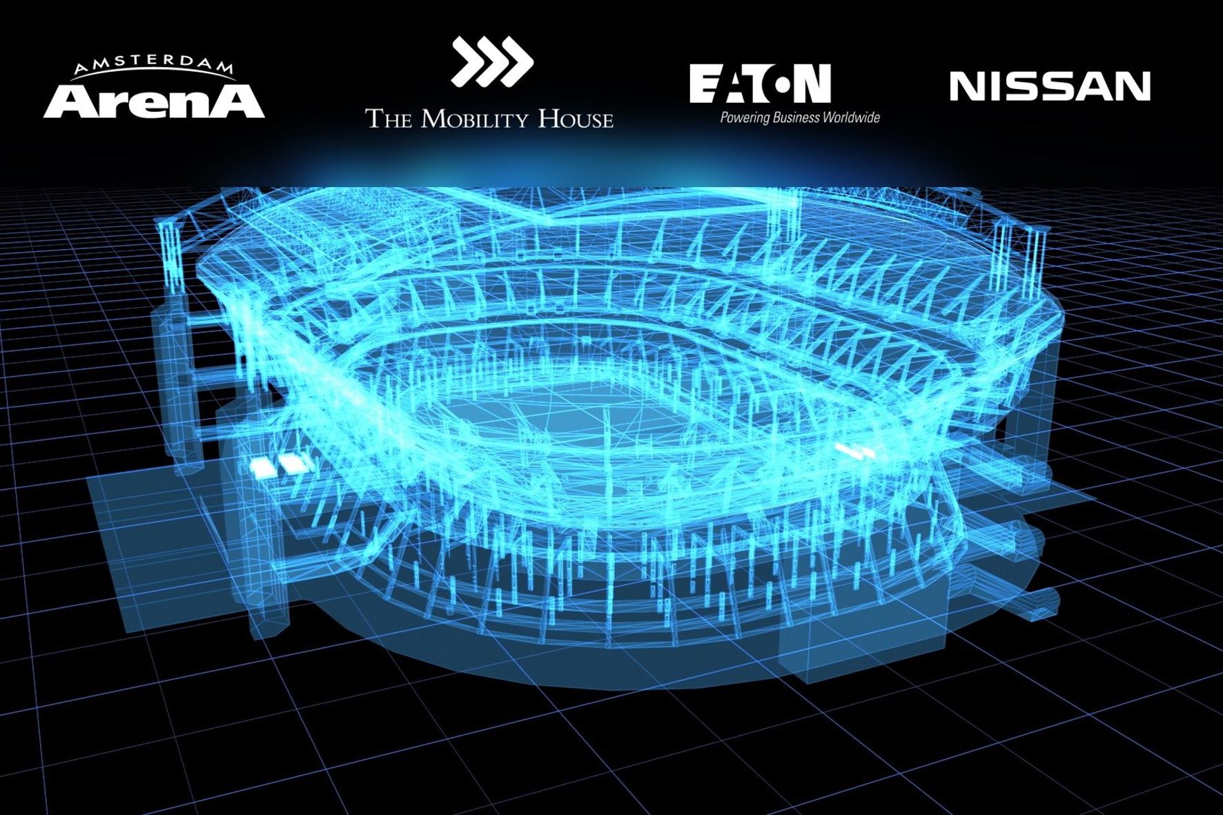 mid Barcelona - Es werde Licht: Die Amsterdam-Arena erstrahlt mithilfe von Akkus aus Elektroautos.