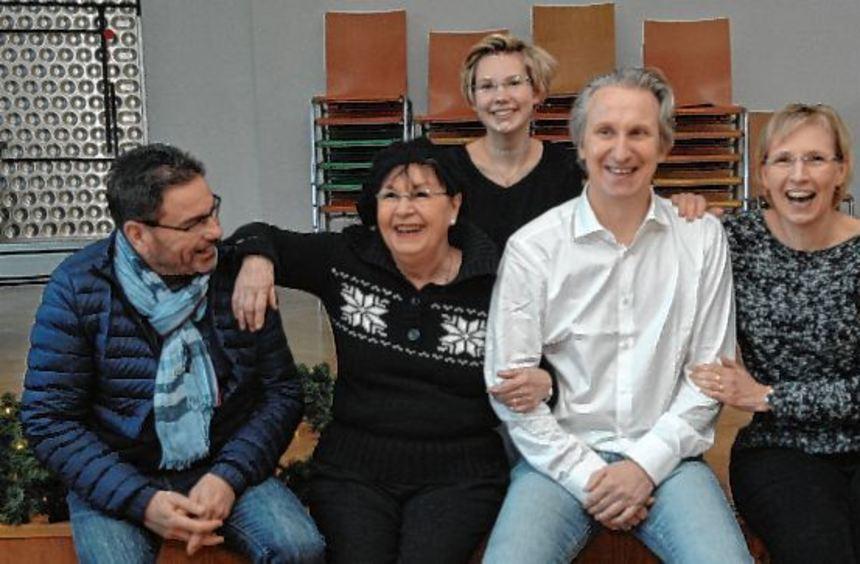 Die Rebläuse (v.l.): Günther Förster, Angelika Strelow-Reichardt, Birte Beier, Michael Meisel und ...