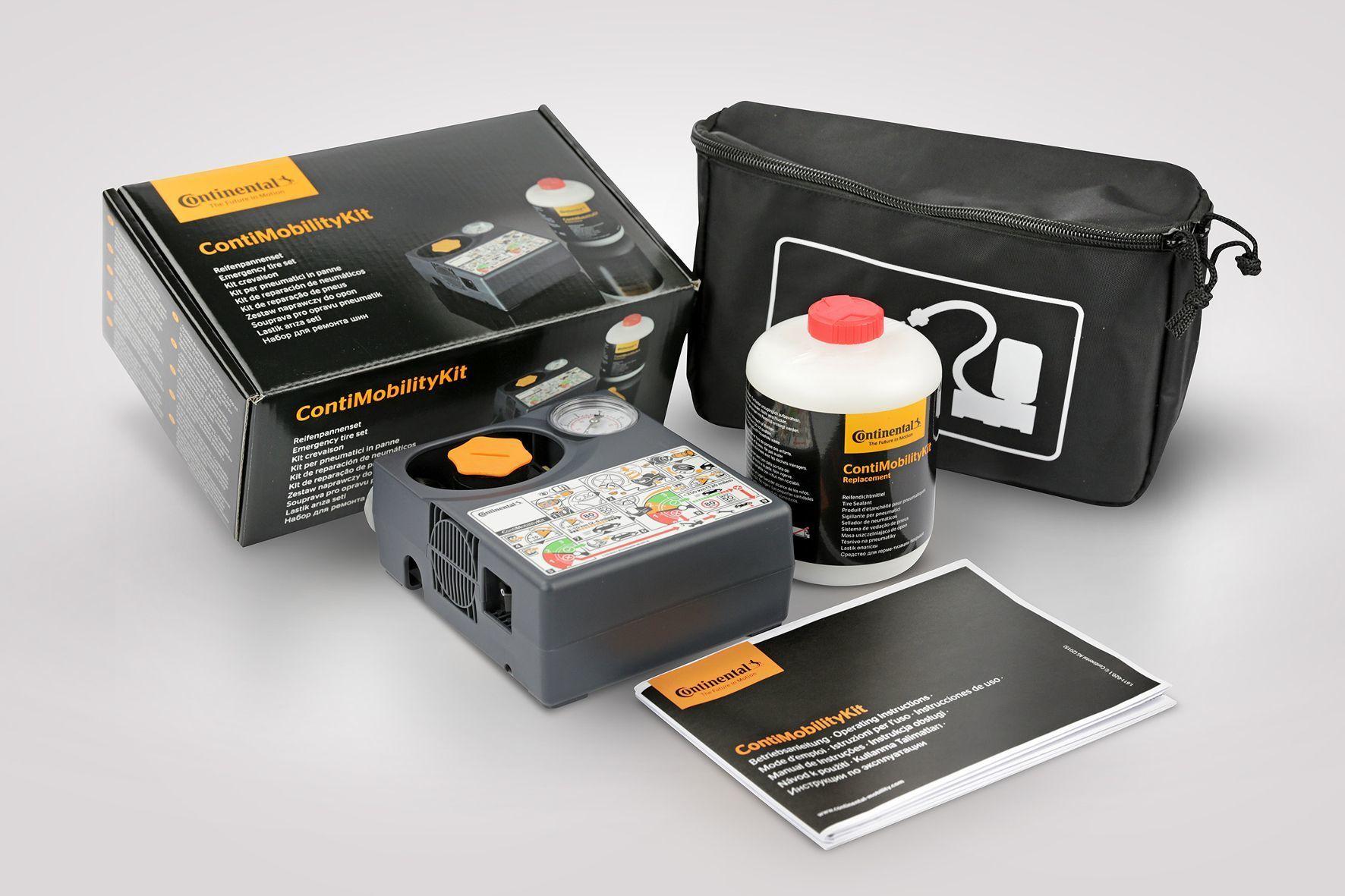mid Groß-Gerau - Das ContiMobiliyKit enthält unter anderem einen 10-Ampere-Kompressor, eine druckfeste Dichtmittelflasche, Plastikhandschuhe und eine Bedienungsanleitung.