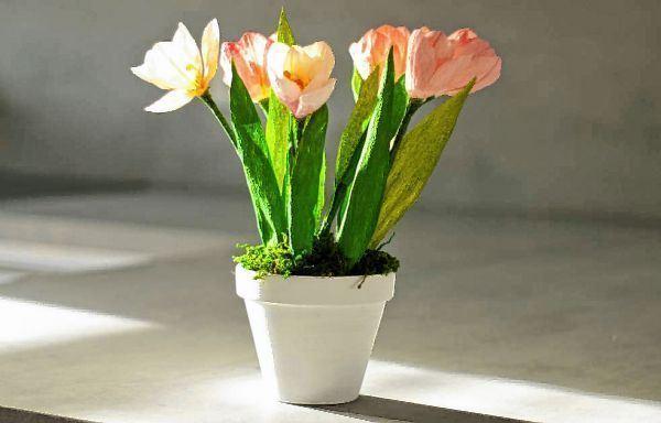 tulpen einfach basteln anleitung, wie krepppapier tulpen schön aussehen lässt - mannheimer morgen, Design ideen