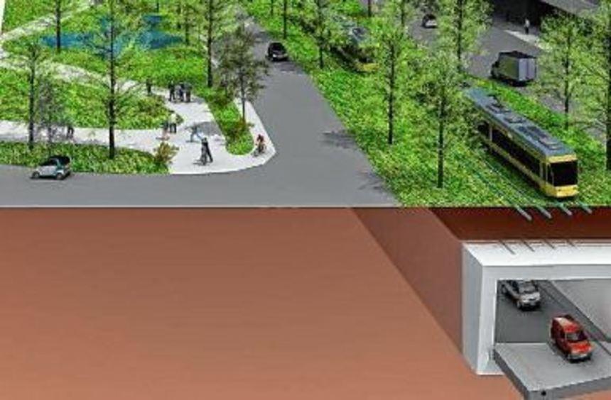 Das Computerbild zeigt die Untertunnelung für den Autoverkehr sowie die überirdische ...