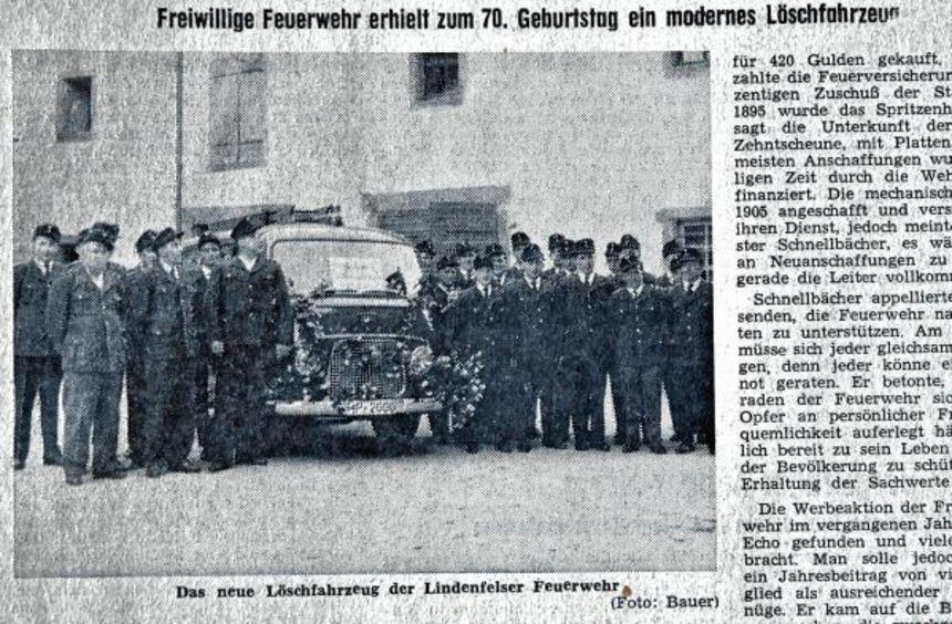 """1962 feierte die Lindenfelser Feuerwehr ihr 70-jähriges Bestehen. Als """"Geschenk"""" gab es ein neues ..."""
