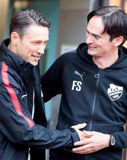Eintracht-Coach Niko Kovac (l.) und Kollege Florian Schnorrenberg.