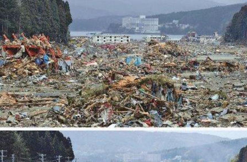 Kaum zu glauben, dass hier wieder Leben einziehen kann: ein Blick auf die vom Tsunami zerstörte ...