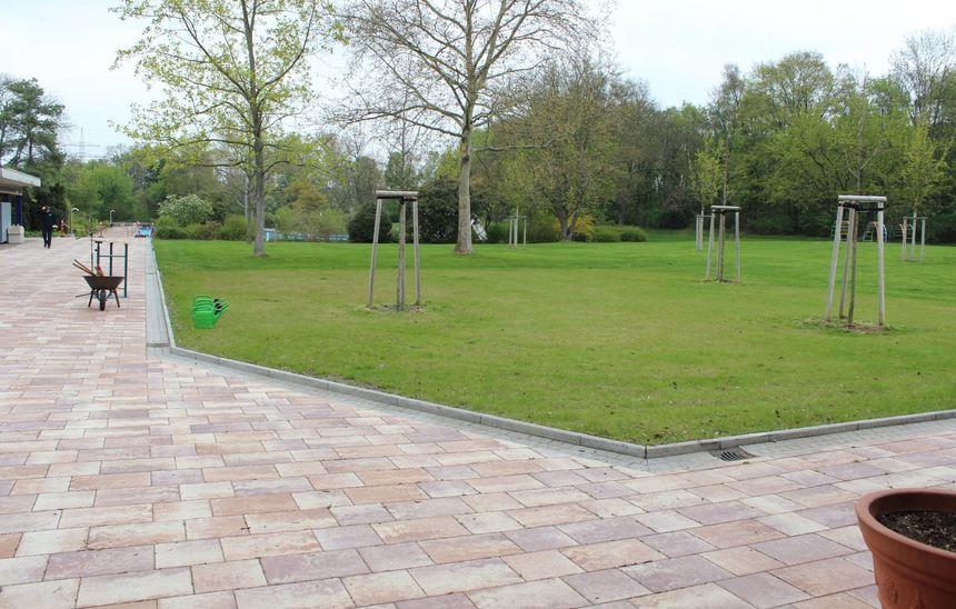 Im Eingangsbereich wurde ein großer bislang gepflasterter Bereich entsiegelt und neuer Rasen ...