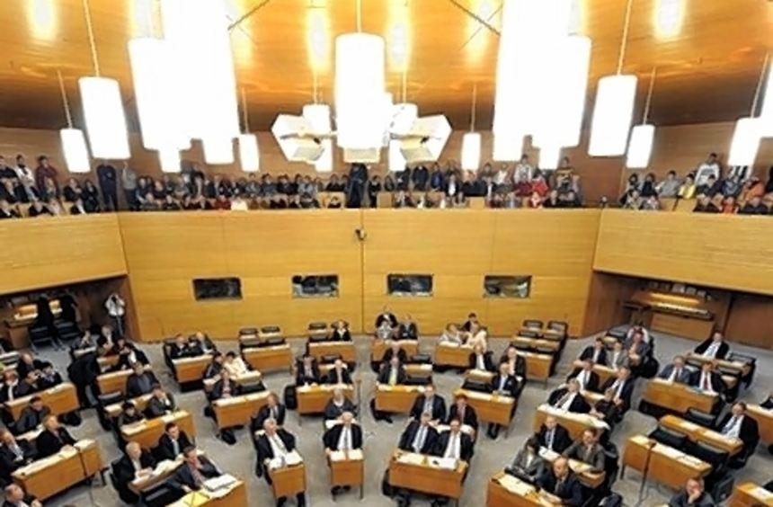 Ein Blick in den Landtag von Baden-Württemberg in Stuttgart.