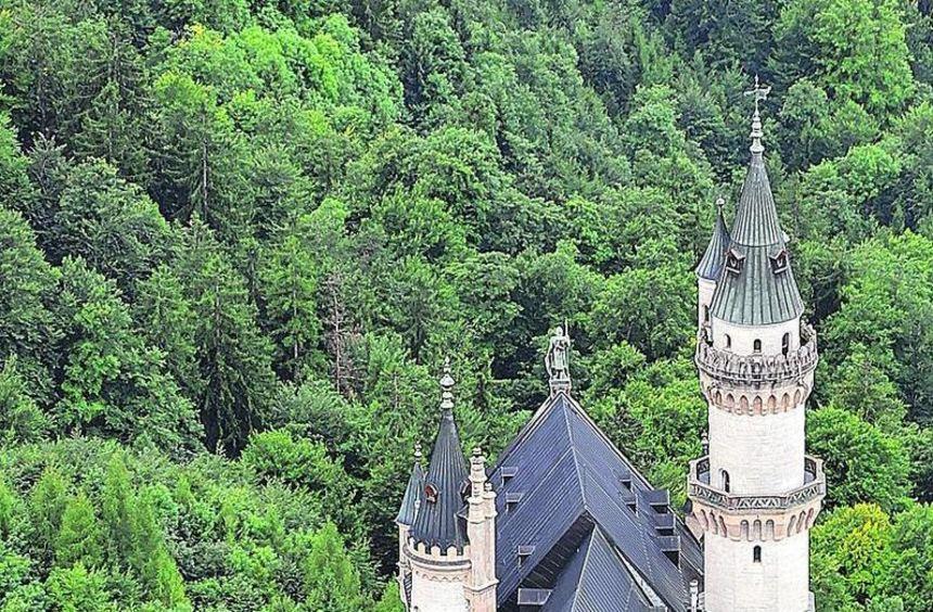 Viele Türmchen und eine Lage inmitten der Allgäuer Berge haben das Märchenschloss König Ludwigs II. ...
