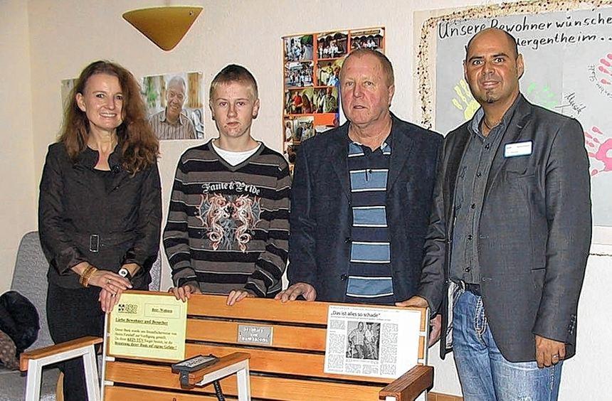 Bank entwickelt und gestiftet: Im ASB-City-Park Seniorenheim in Bad Mergentheim tut die von dem ...