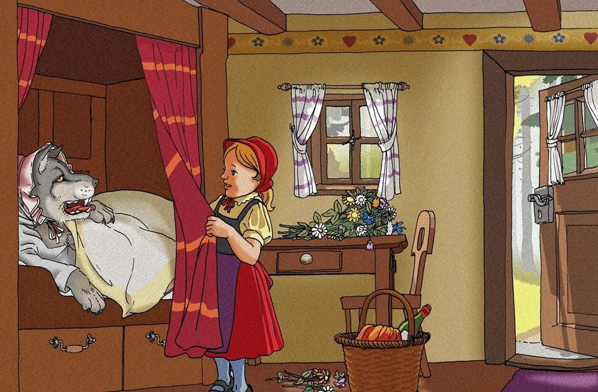 """Die Geschichte von """"Rotkäppchen"""", das wie seine Großmutter vom bösen Wolf gefressen wird, gehört zu ..."""
