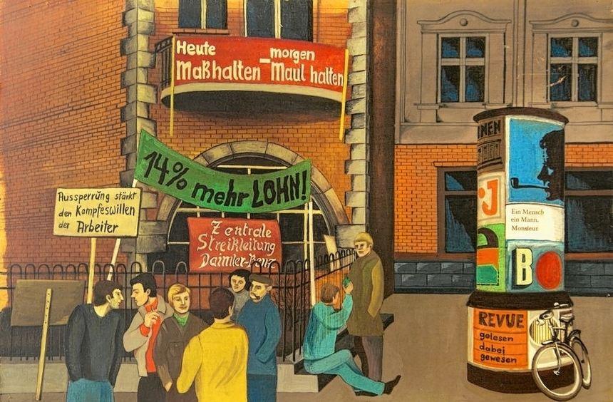 Klaus Barth und die Fahne der Holzarbeiter von 1901 sowie ein Gemälde von Annemarie Stern zum ...