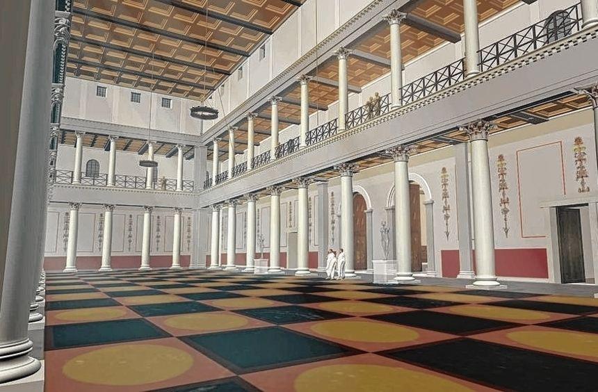 Eine rekonstruierte Innenansicht der Basilika von Lopodunum: In Form eines Filmes wird das römische ...