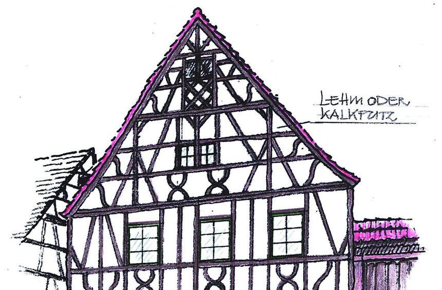 Der Hobbykünstler Erhard Zaha fertigte eine Zeichnung des Hauses in der Haupt-straße 74 an, wie es ...