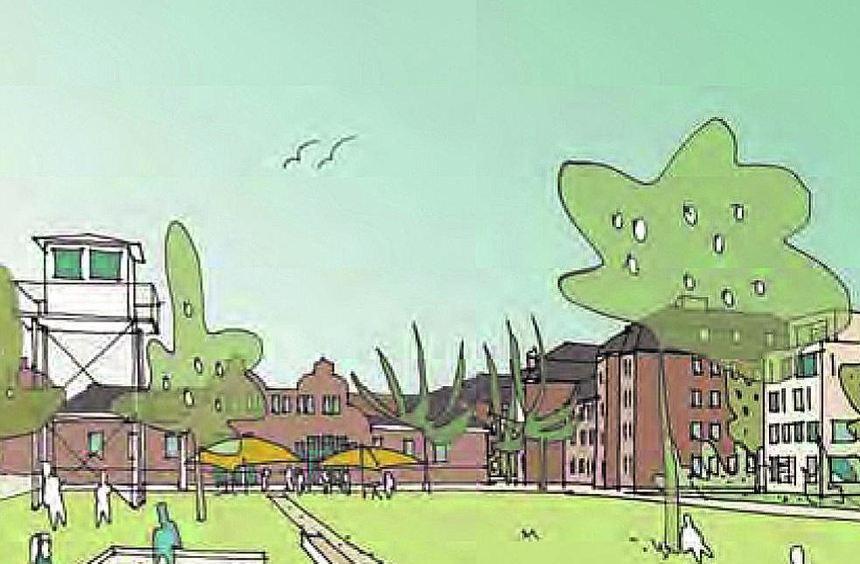 So könnte es auf Turley später aussehen: Blick auf den Quartiersplatz mit Kasino. Unten zeigt ...