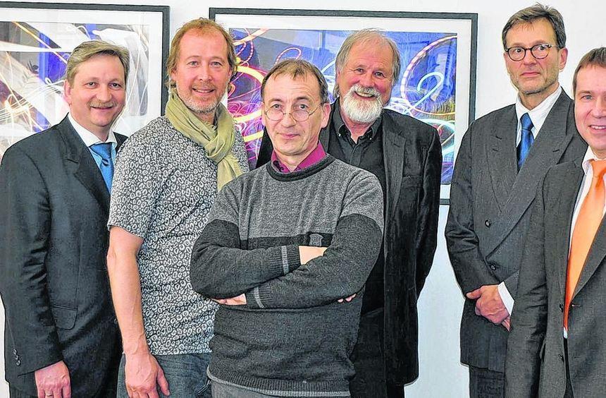 Bei der Vernissage (von links) Dr. Norbert Schön, Michael Partzsch, Gunter Schmidt, Bernd ...