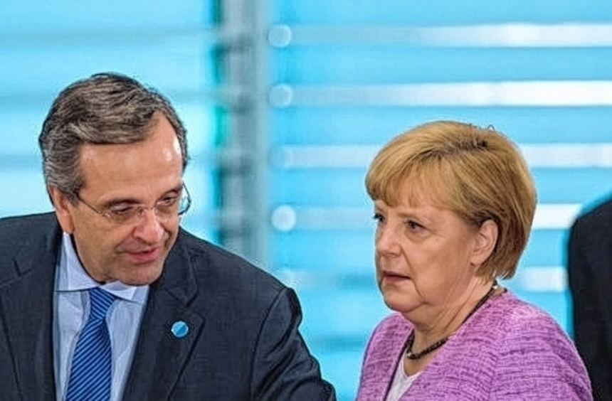 Angela Merkel mit dem griechischen Premier Antonis Samaras (links).