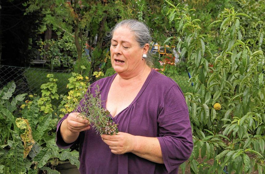 Gegen alles ist ein Kraut gewachsen: Ingrid Blem begutachtet einen Strauß Bohnenkraut (oben). Im ...