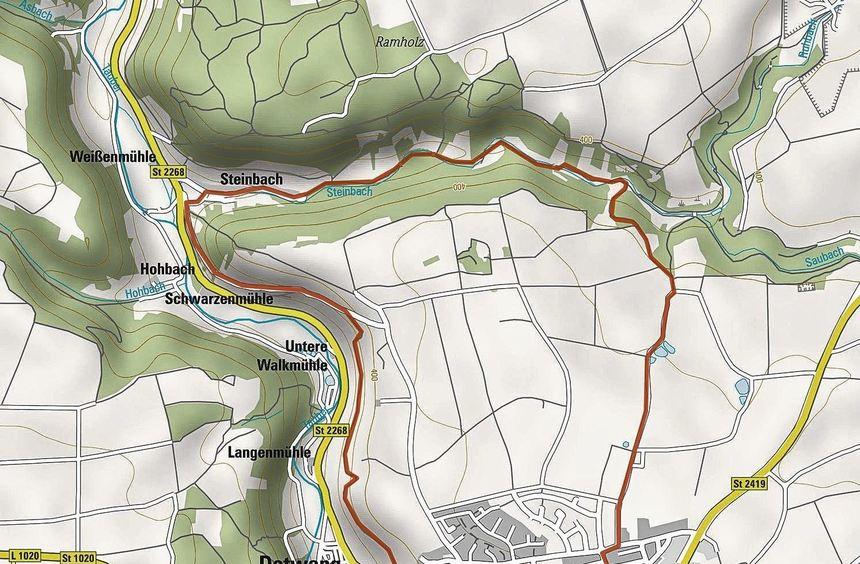 Von Rothenburg steigt man hinunter ins Taubertal und folgt dem Fluss bis Detwang. Dann geht es das ...