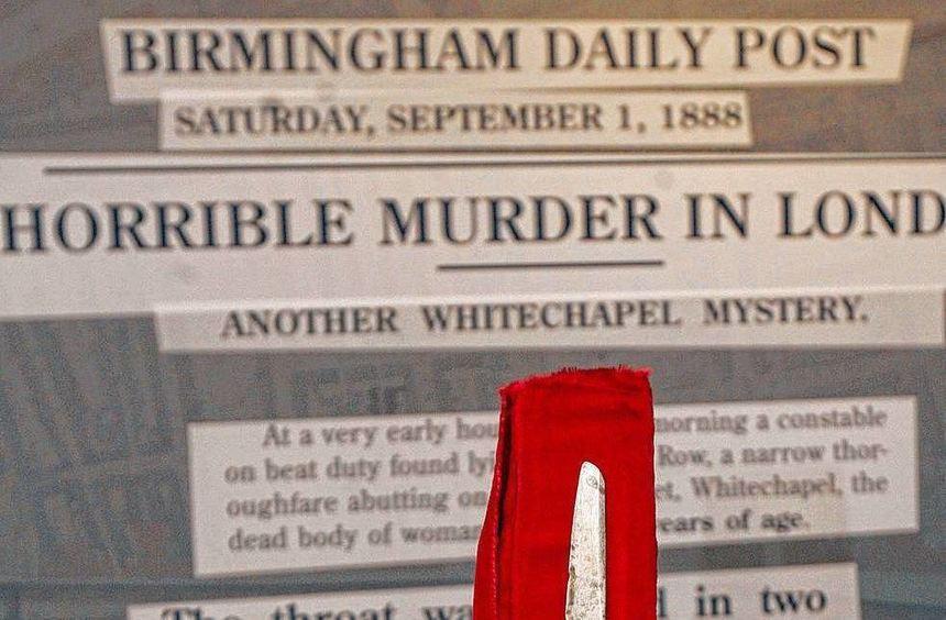 Das Messer, das Jack the Ripper benutzt haben soll, wird im Docklands Museum in London ausgestellt.